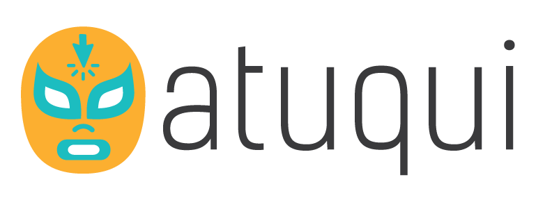 atuqui logo of orange wrestler mask with teal details including a clicker on the forehead with the word atuqui next to it
